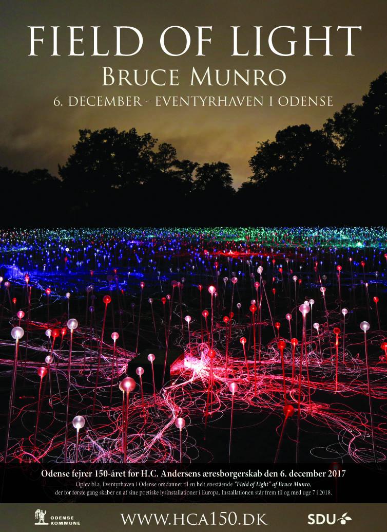 Bruce Munro: Field of Light, lysinstallation i Eventyrhaven i Odense 6. december 2017
