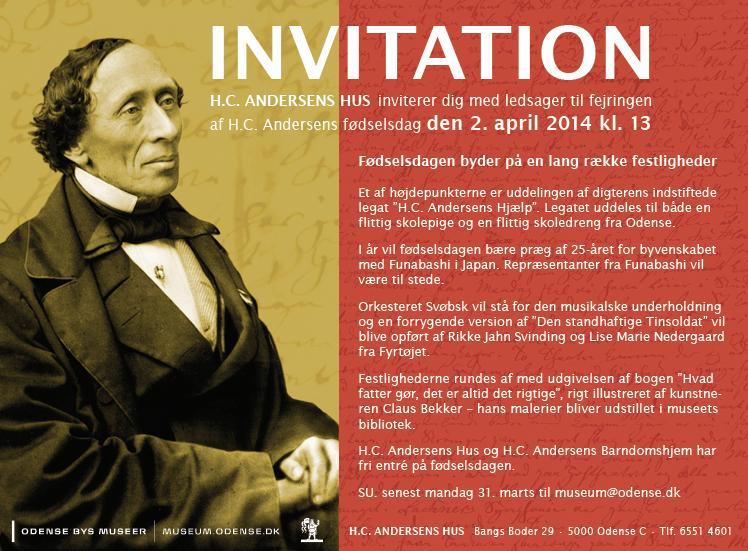 Invitation til H.C. Andersens fødselsdag i H.C. Andersens Hus 2014