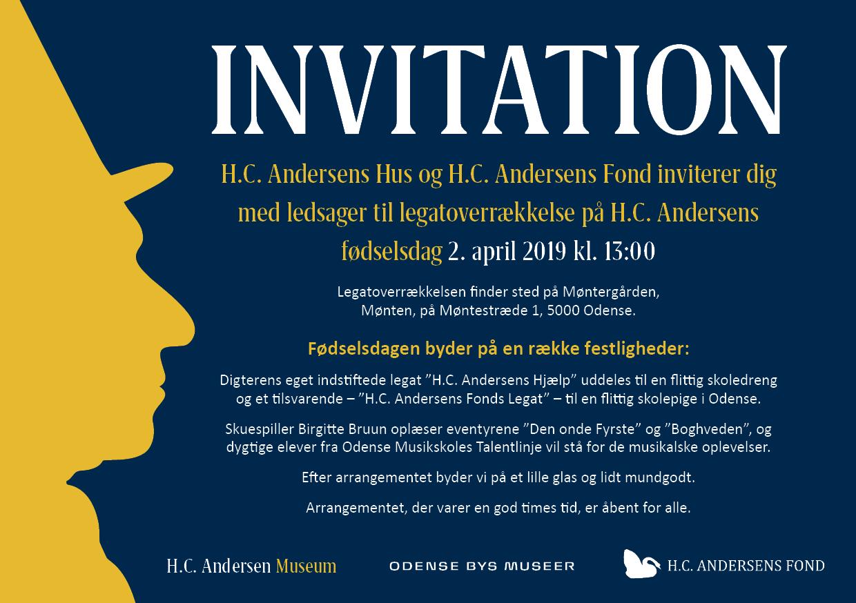 Invitation til legatoverrækkelse på H.C. Andersens fødselsdag 2019