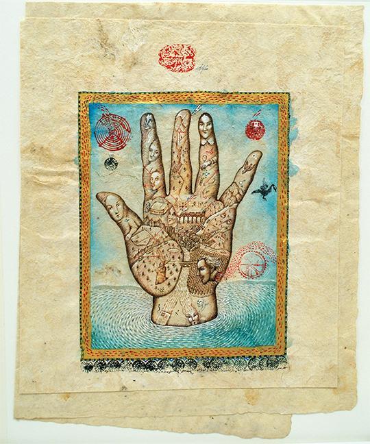 Peter Sis: illustration. En hånd.