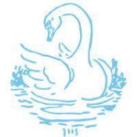 Blå svane-kontur på hvid baggrund